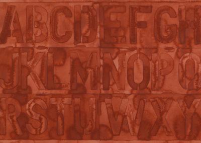 alfabet in aquarel in rood oranje tinten van Wim Konings