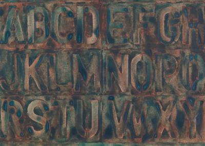 aquarel van het alfabet van Wim Konings in groen op rood