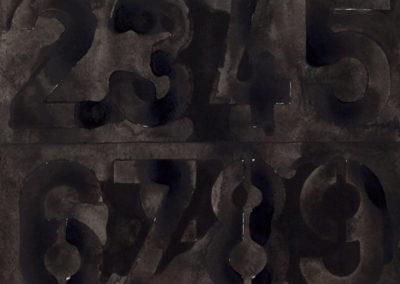 aquarel van cijfers in zwart van Wim Konings