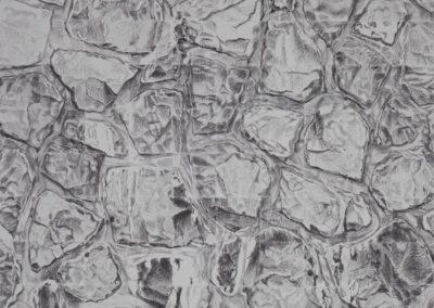 houtskool werk van Wim Konings maaikade in grijstinten