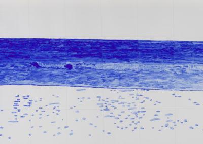 vloedlijn van de zee in blauw, aquarel van Wim Konings