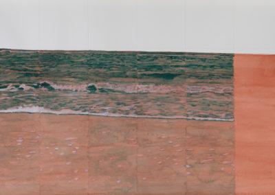 vloedlijn van de zee in groen op rood, aquarel van Wim Konings