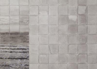 aquarel van zee vloedlijn in grijstinten van Wim Konings