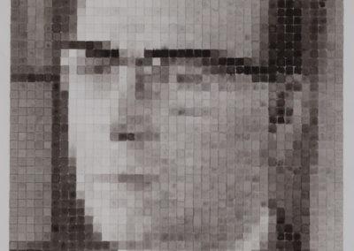 portret van vader in gewassen inkt op papier van Wim Konings