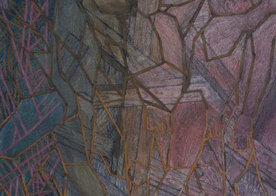 olieverf schilderij van Wim Konings in blauw paars tinten