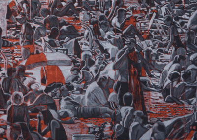 een olieverf schilderij van Wim Konings met badende mensen in zwart wit en oranje, een vol strand
