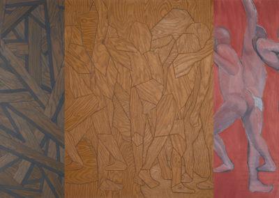 hout, hout en naakte mannen in olieverf van Wim Konings