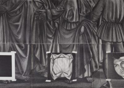 drieluik van Wim Konings in donkergrijze kleuren