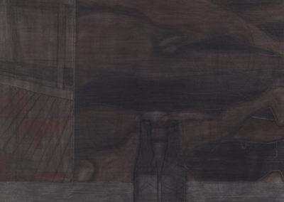 aquarel en houtskool tekening van een studiovloer van Wim Konings